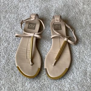 Dolce Vita Thong Sandals with Gold Detail